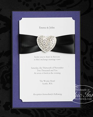 Custom wedding invitation featuring heart rhinestone buckle created at Chic Ink