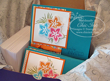 These invitations feature handcut stamped images, ribbon in 2 styles ...