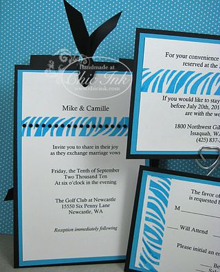 Custom turquoise zebra print wedding invitation created at Chic Ink