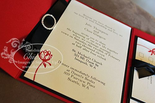 Red and black wedding invitation with rhinestone accents created at Chic Ink
